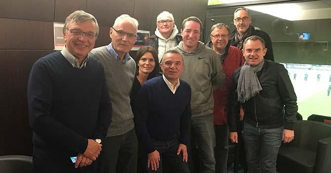 Franck et Jérôme Launay au Rhoazhon Parc avec les représentants de l'USG Foot de Saint-Grégoire