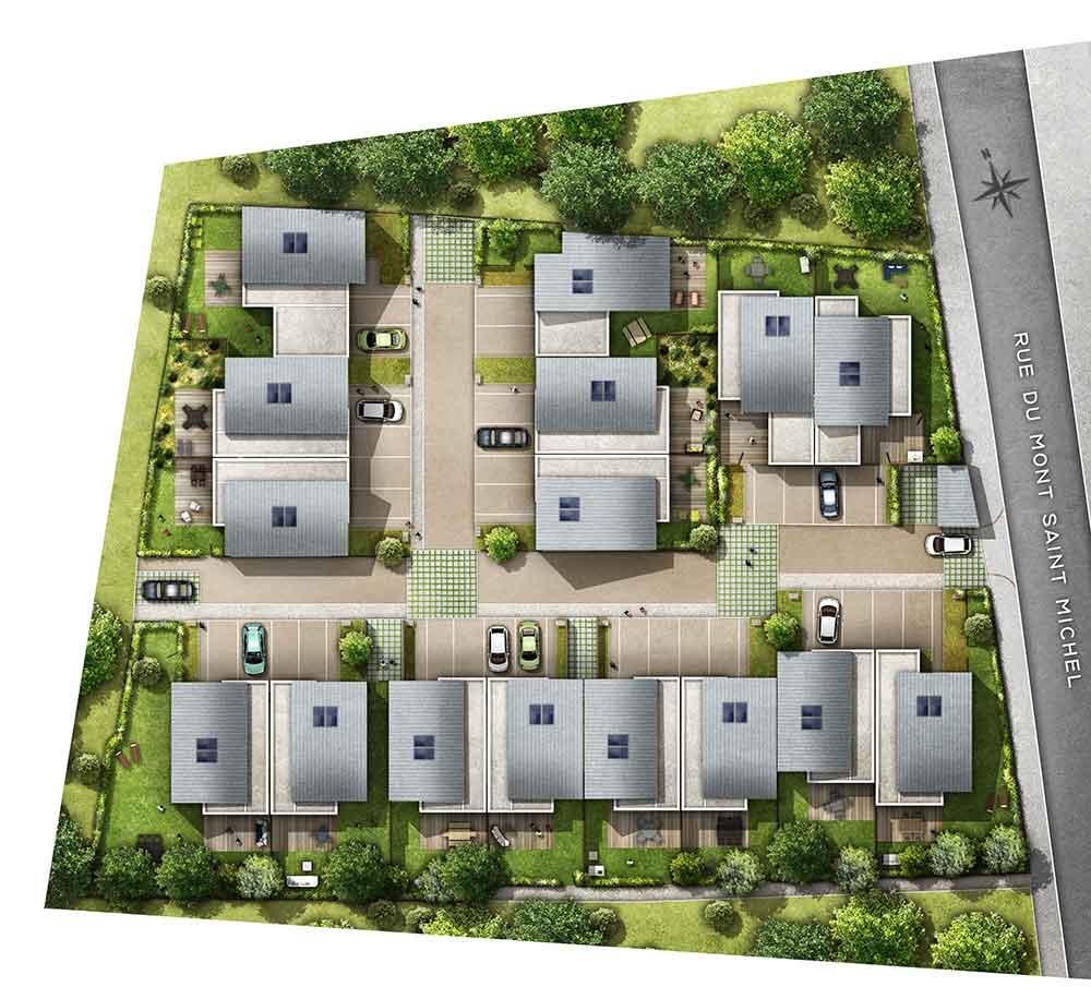 Programme immobilier neuf esprit village betton 35 for Plan betton